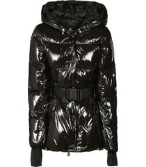 moncler glossy snap-lock belt padded jacket