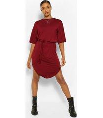 belted curved hem midi dress, berry
