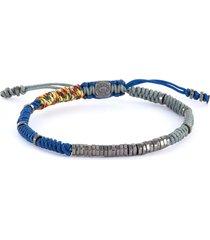 'guell' rhodium plated sterling silver bead macramé bracelet