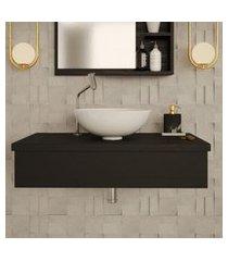 conjunto para banheiro bancada com cuba r35 redonda city 800 preto ônix