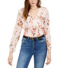 bar iii floral smocked-waist top, created for macy's