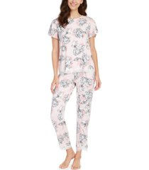 charter club printed lace-trim top & capri pajama pants set, created for macy's