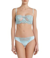 la perla women's petit macramé thong - light blue - size s