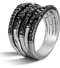 women's john hardy 'bamboo - lava' wide pave sapphire stack ring