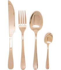 faqueiro cobre rose gold 24 pçs inox - talheres garfo faca colher e sobremesa