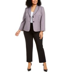 le suit plus size printed pantsuit