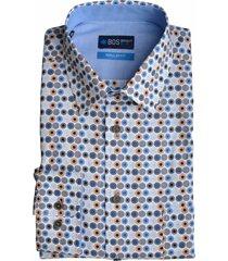 bos bright blue overhemd langemouw blauw motie 20107wi13bo/240 blue