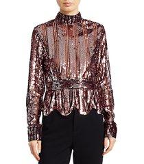 derek lam women's sequin stripe mockneck top - pink - size 00