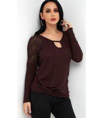 burgundy lace details round neck long sleeves knot hem t-shirt