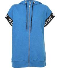 colete colcci fitness capuz azul - azul - feminino - dafiti