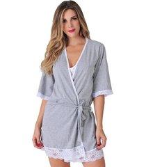 robe curto plush mangas 3/4 barra rendada cinza