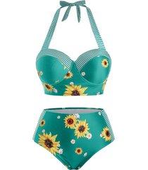 plus size striped sunflower push up halter tankini swimwear