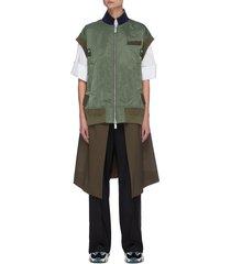hybrid sleeveless bomber suiting vest