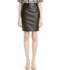 saint laurent lambskin leather skirt, size 10 us in noir at nordstrom