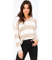 olivette striped knot back sweater - taupe