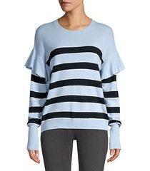 olivia stripe ruffle knit sweater