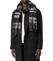 women's allsaints plaid fringe scarf, size one size - black
