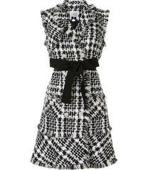 edward achour paris tweed belted waistcoat - black