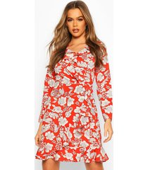 floral print ruffle 3/4 sleeve tea dress, rust