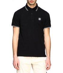 short sleeve logo patch polo shirt