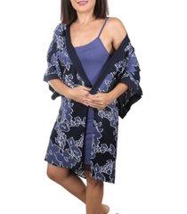 mood pajama floral print-ultra soft chemise nightgown robe set