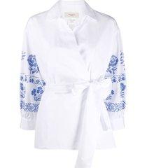 weekend max mara embroidered blouson sleeve blouse - white