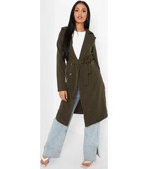 tall utility trench coat met knoop detail, khaki