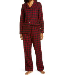 women's l.l.bean scotch plaid flannel pajamas, size x-small - red