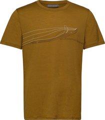 mens tech lite ss crewe single line whale t-shirts short-sleeved grön icebreaker