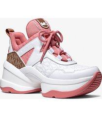 mk sneaker olympia color-block con logo - tea rose mlt - michael kors