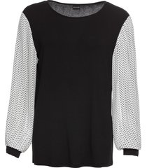 maglia con maniche in chiffon a pois (nero) - bodyflirt