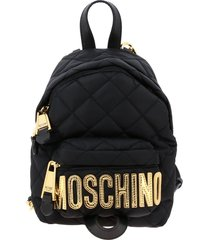 moschino couture backpack moschino couture nylon backpack with maxi laminated logo