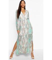 geweven paisley maxi jurk met zijsplits, meerdere