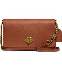 coach crosstown x leather crossbody bag - brown