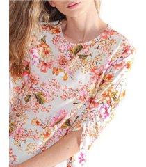 blusa para mujer cuello redondo, manga 3/4, de estampado floral y tela fluida color-multicolor-talla-l