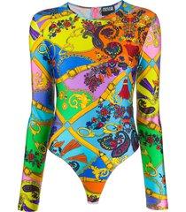 versace jeans couture baroque print rear zip bodysuit - orange
