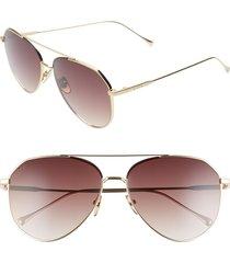 women's diff dash 59mm aviator sunglasses - gold/ mocha tortoise