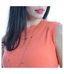 regata feminina tricot modal gola média com recortes cor coral