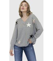 sweater cuello v estrellas gaga gris racaventura