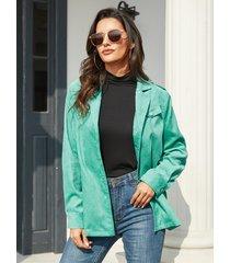 yoins bolsillo frontal con botón verde diseño chaqueta de manga larga con cuello de solapa