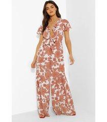 bloemenprint wide leg jumpsuit met laag decolleté, white