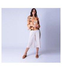 blusa bata mercatto estampa citrino feminina