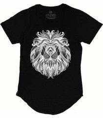 camiseta longline stoned tribal lion masculina