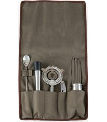 legacy by picnic time bar tools set 14 pieces in waxed canvas roll tote, (grey)