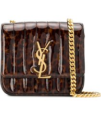 saint laurent tortoiseshell vicky shoulder bag - brown