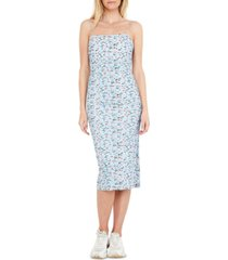 bardot ruched floral midi dress