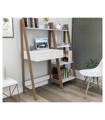 kit escritório completo branco castanho lilies móveis