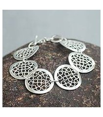 sterling silver link bracelet, 'moonlit honeycombs' (peru)
