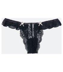 calcinha biquíni back lace em renda geométrica | lov | preto | p