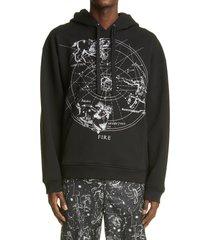 men's valentino zodiac map cotton hoodie, size small - black